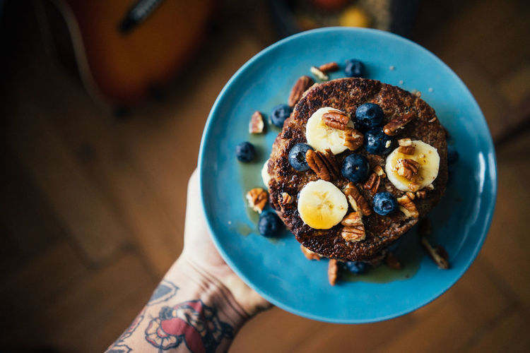 Vegan blueberry banana pancakes Blueberries Blueberry Pancakes  Breakfast Clean Eating Close-up Dessert Food Food And Drink Freshness Gluten Free Healthy Breakfast Healthy Eating Healthy Lifestyle Indoors  Indulgence Meal Pancakes Plate Ready-to-eat Sweet Food