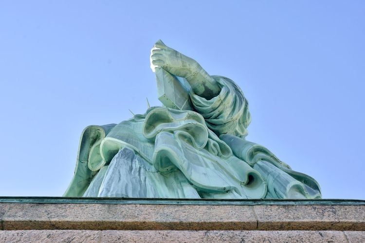 Freedom Liberty Liberty Island Statue Of Liberty Architecture Blue Clear Sky Close-up Copy Space Day Human Representation Independence Day Lady Liberty Low Angle View No People Outdoors Representation Sculpture Sky Statue Tourism Travel Destinations