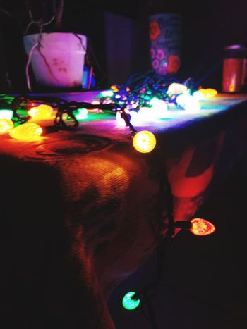 Christmas Lights Lanai Florida Nights Table Close-up