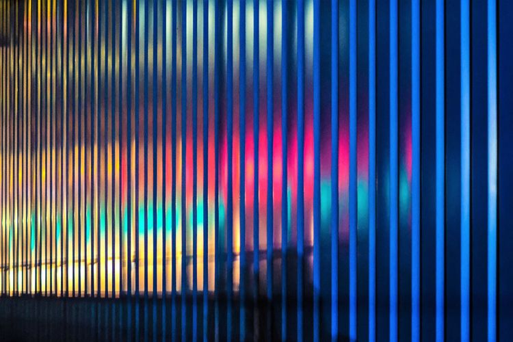 Lights And Shadows Lights And Lines Pattern Multi Colored Backgrounds Abstract Full Frame No People Night Close-up Indoors  Illuminated Textured  Blue Striped Lighting Equipment In A Row Glowing Side By Side Window Blinds Technology Nightlife