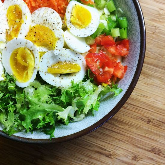 Egg Healthy Eating Fried Egg Breakfast Food And Drink Freshness Indoors  Vegetable Food Ready-to-eat Egg Yolk No People Plate Lettuce Close-up Day