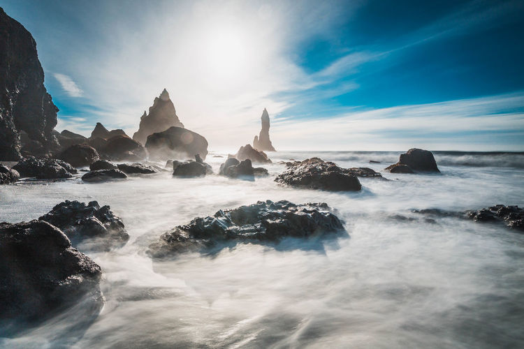 Beach Beauty In Nature Cloud - Sky Cold Temperature Iceland Idyllic Landscape Multi Colored Nature Outdoors Reflection Rock - Object Scenics Sea Sky Sunbeam Sunlight Sunset Tourism Tranquil Scene Tranquility Travel Travel Destinations Vacations Water