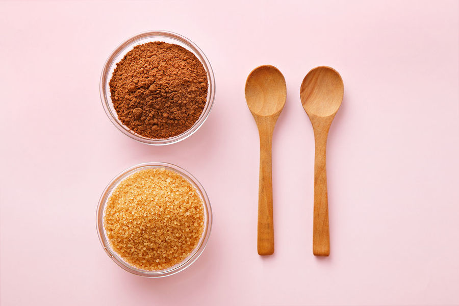 Cocoa powder, sugar and spoons on pink pastel background. Top view. Baking ingredients Brown Sugar Cocoa Powder Dessert Flat Lay Food Ingredient Ingredients No People Pink Pink Color Taking Photos Utensils Wooden Spoon