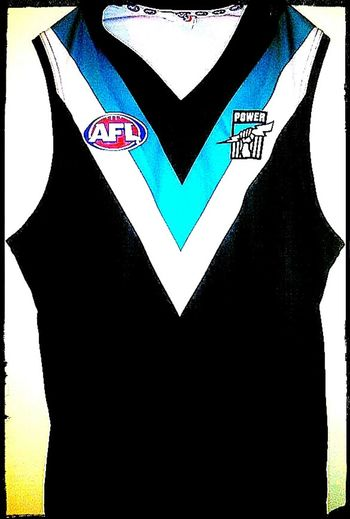 Aussie Rules Football Aussie Rules Wharfies Western Script Text Aussie Aussie Aussie, Oi Oi Oi No People Sport Uniform Sports Team Portadelaide PortPower The Power Thepower Team Uniforms Emblem  Sports Clothing Sports Uniform Australian Rules Football AFL I Come From A Land Down Under Aussie Rules Footy Guernsey Aussie Rules Football Team Port Power Logo Australian Football League Footy Port Adelaide Badge