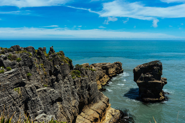 Cliffs Coastline Clouds New Zealand Pancakerocks Rocks Sea Sky South Island West Coast