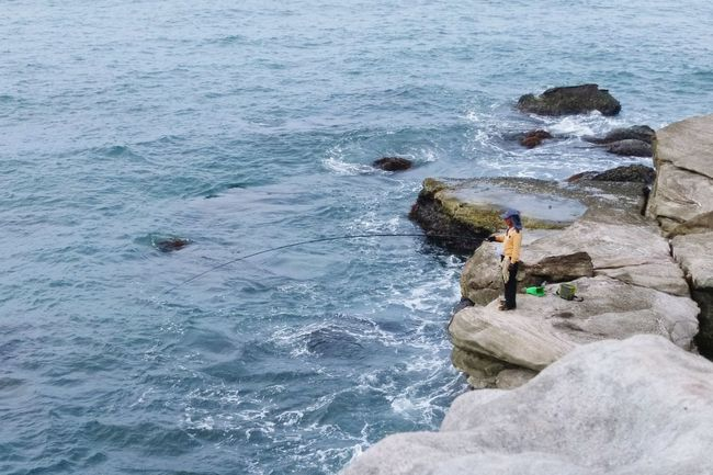 Jinshan Secreat Beach Taiwan Outdoors Beach Fisherman Ocean View