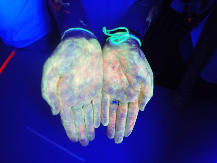 Close-up Black Background Glow Blacklight Hands Colors Freshness
