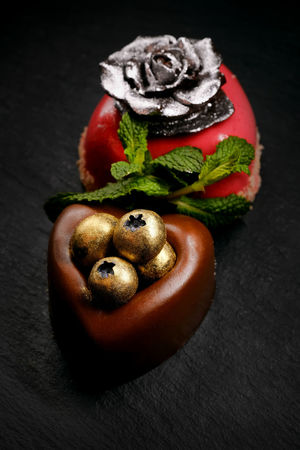 Heart shaped cakes Berries Chocolate Decor Dessert Gold St.Valantain's Day Beauty Blueberries Cake Chokolate Cake Close-up Delicious Delicious Food Food Food And Drink Heart Shaped  Indoors  Mint Leaf - Culinary No People Object Ready-to-eat Restaurant Restaurant Food Sequin Sweet Food