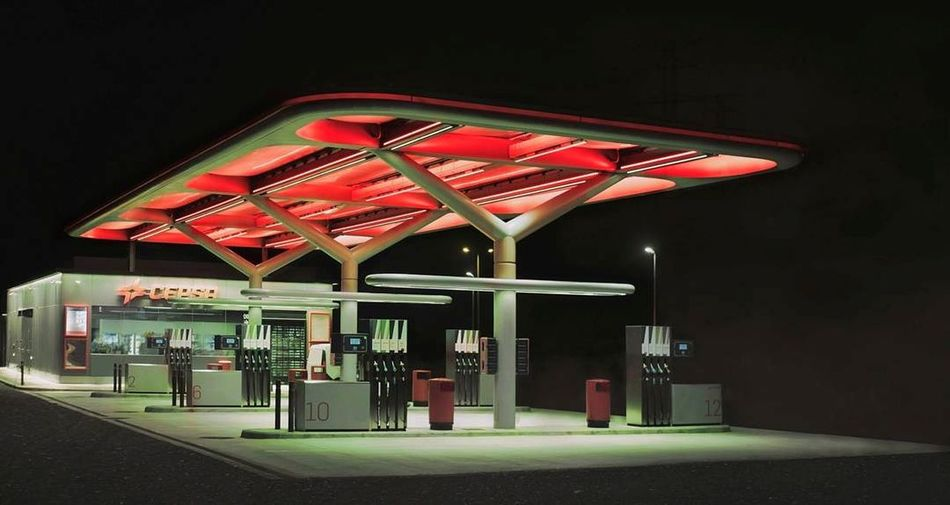 Illuminated red lights at night