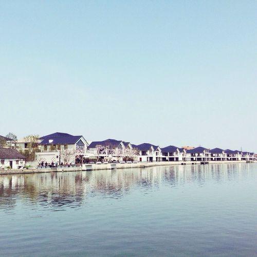 Reflection Village Tree Clear Sky Waterfront Built Structure Zhujiajiao Shanghai China