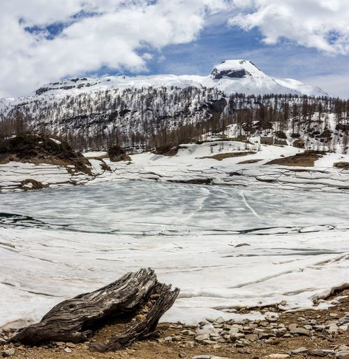 Frozen Lake By Snowcapped Mountains Against Cloudy Sky