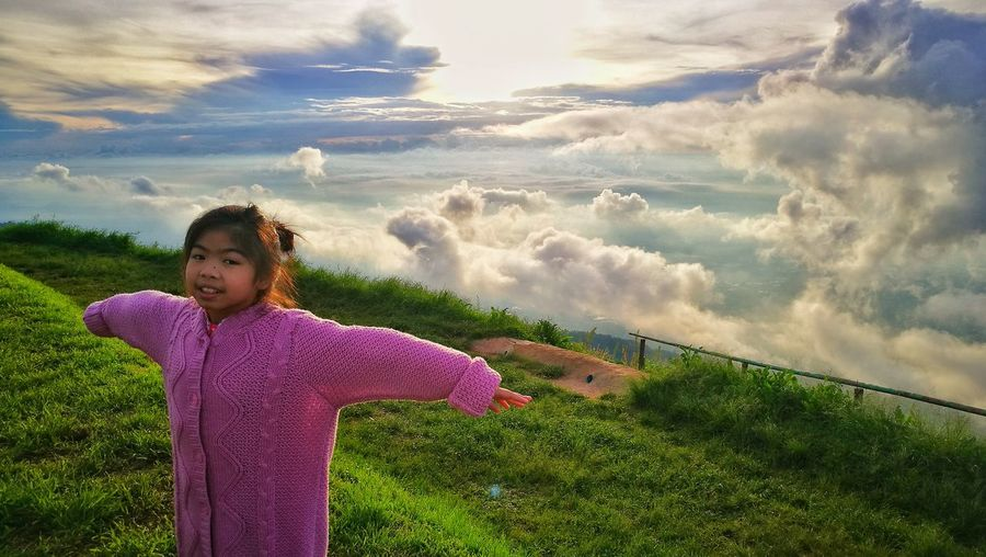 Cloud - Sky Girls Females Beauty Motion Sky Women Nature Outdoors Beauty In Nature Pink Color People Adult Sunset One Person Scenics Child Grass Only Women One Woman Only