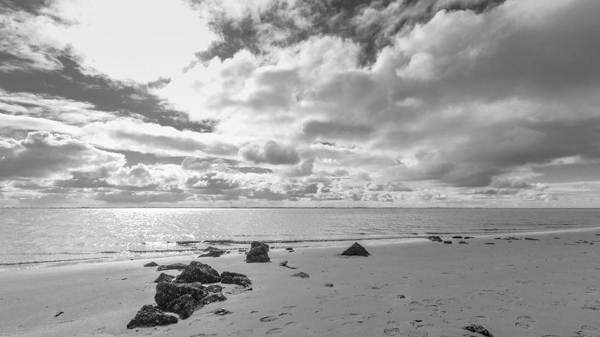 Beach Beauty In Nature Blackandwhite Blackandwhite Photography Canon Canonphotography Cloud - Sky Clouds And Sky Day Island Landscape Landscape_photography Langeoog Nature Nature No People Northsea Outdoors Sand Scenics Sea Sky Water