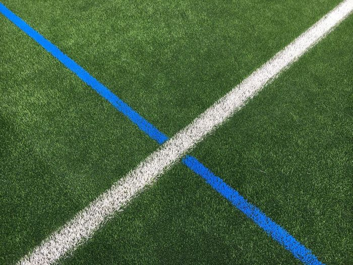 High angle view of lines on soccer field