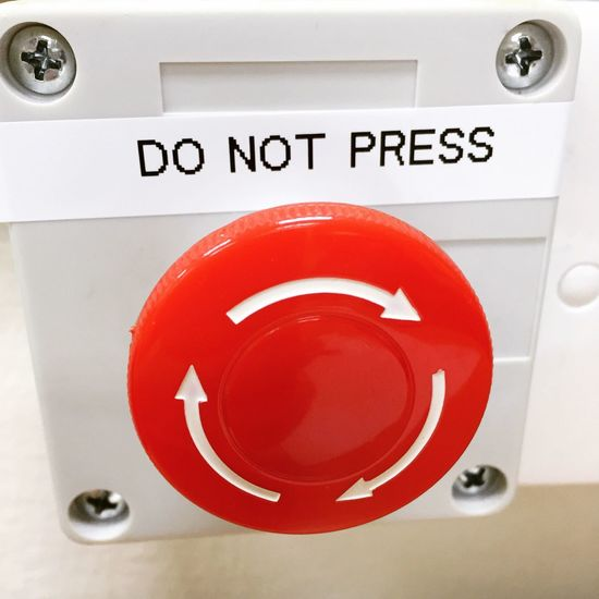 Do not press Red Circle Danger Communication Safety Emergency Sign Warning Sign Fire Alarm Accidents And Disasters Close-up Rescue No People Urgency Machinery Indoors  Washing Machine Day