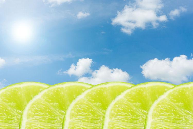 Close-Up Of Lemon Slices Against Sky