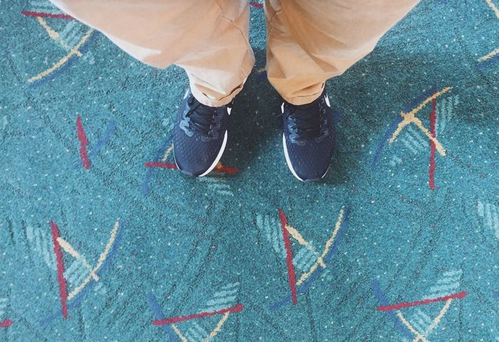 Carped at PDX Airport PDX Carpet Pdx Carpet Legs Low Section Shoe Human Leg High Angle View Real People One Person Men Close-up Adult Human Body Part