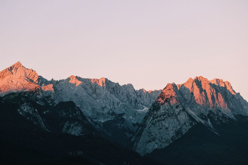 Mountain Beauty In Nature Nature Mountain Range Scenics Tranquil Scene Snow Landscape Tranquility Geology Physical Geography Winter Clear Sky No People Cold Temperature Extreme Terrain Outdoors Mountain Peak Sky Garmisch-partenkirchen Bavaria Bavarian Alps Sunrise Rock Mountains