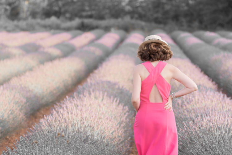 The only way it's forward. Abstract Abstract Portrait Fashion Field Focus On Foreground France Lavender Field Leisure Activity Lifestyles Low Saturation Nature Outdoors Provence Tourist For A Day Valensole Woman In Pink Dress Woman Portrait TakeoverContrast