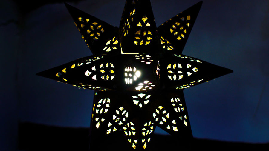 Low angle view of illuminated decoration