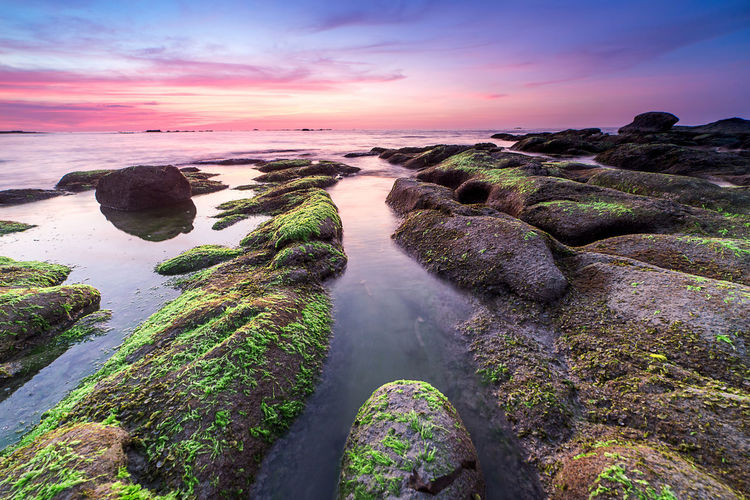 Nature Background_sunset Scenics - Nature Water Beauty In Nature Sunset Sky Sea Tranquility Tranquil Scene Cloud - Sky Rock Rock - Object Nature Land Solid Long Exposure Idyllic Beach Moss Environment No People Outdoors Flowing Water