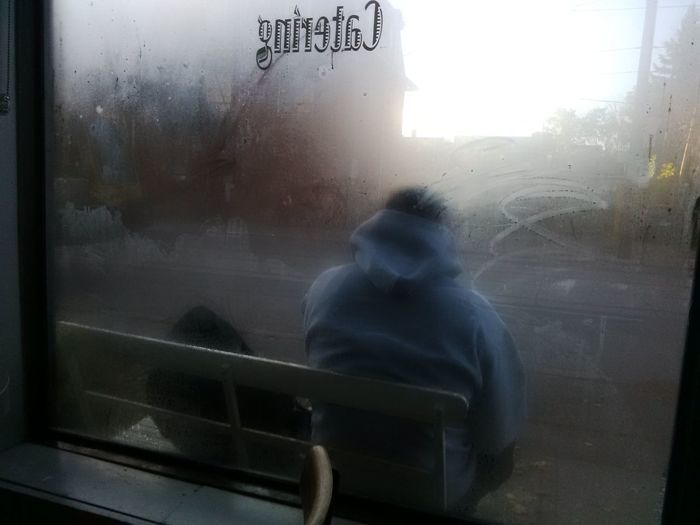 Bench Sitting Blurry Background Catering Contemplations Foggy Window Misty Window One Person Waiting Waiting For Bus