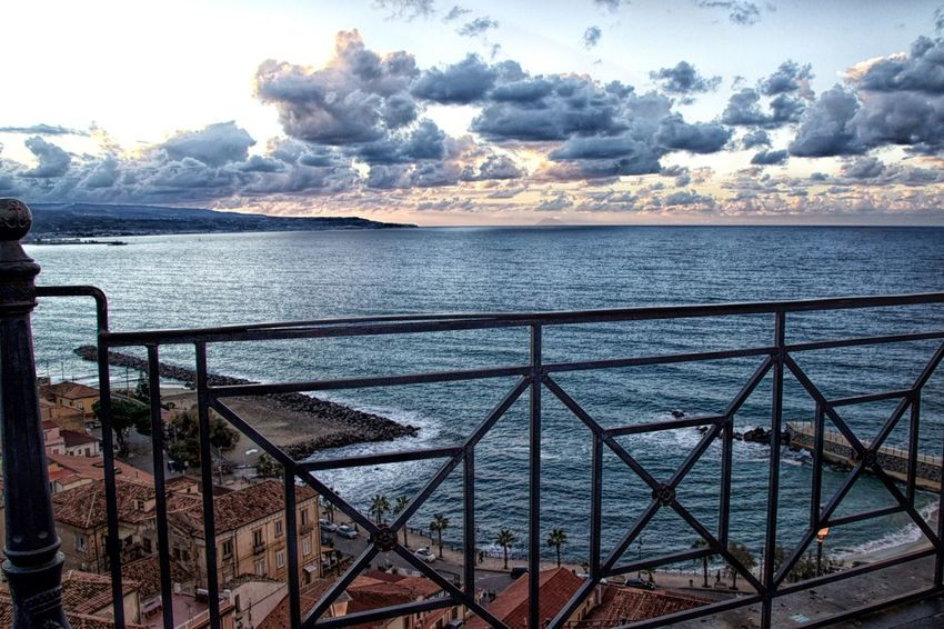 Dramatic Sky Architecture Beauty In Nature Cloud - Sky Day Horizon Over Water Nature No People Outdoors Railing Scenics Sea Sky Sunset Tranquil Scene Tranquility Water Pizzo Calabro