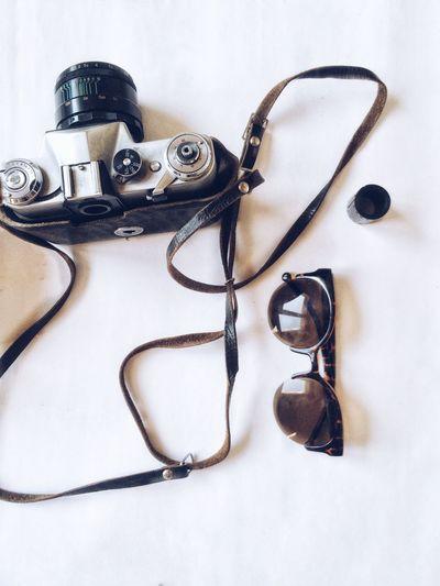 Minimalism Oldcamera Still Life Studio Shot Sunglasses Vintage White Background Zenitcamera