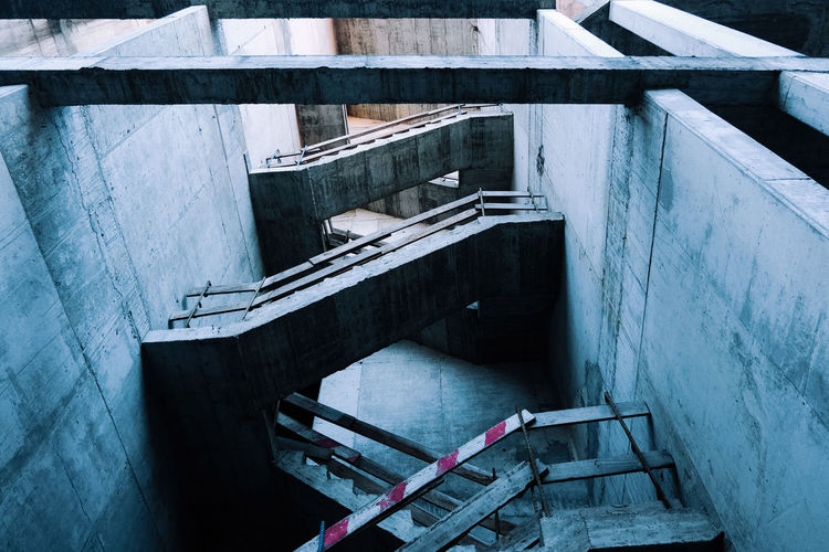 Architecture Built Structure Staircase Building Exterior Day No People Railing Steps And Staircases High Angle View Nature Building Wall Wall - Building Feature Outdoors Water Abandoned Old Connection Concrete