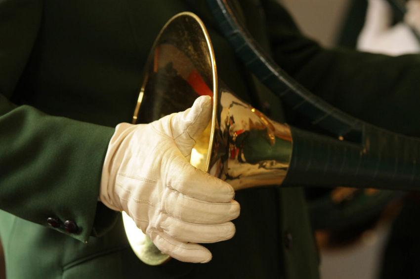 Green Color Close-up Glove Golden Color Holding Human Body Part Hunting Horn Krebserösch Musical Instrument