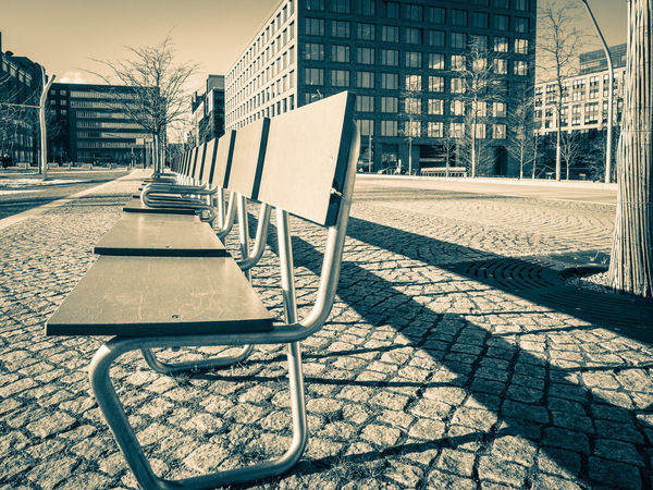 Empty Seat Variations Bench Empty Places Hafencity Lights Settle Shadows & Lights Sitting Sunlight Abondoned Day Design Empty No People Outdoors Seat Shadow Sit Down