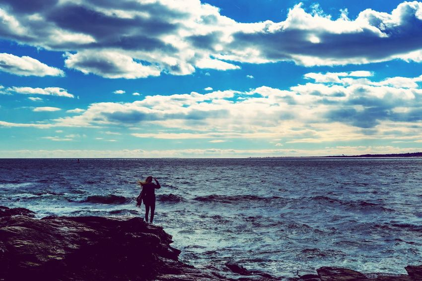 The girl and the sea Girl Sea And Sky Sea Seascape Rhode Island Beavertail State Park Water Model Rocks The Great Outdoors - 2018 EyeEm Awards