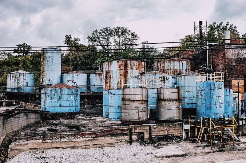 Abandoned Bad Condition Blue Boiler Close Up Container Day Destruction Factory Full Frame Industrial Industry Large Group Of Objects MidWest No People Rust Side By Side