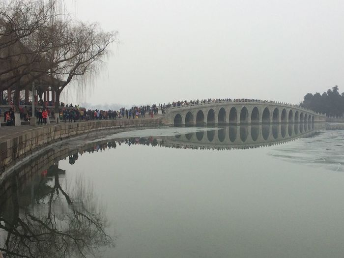 Summer Palace Rainy Days Lake Bridge Shadow