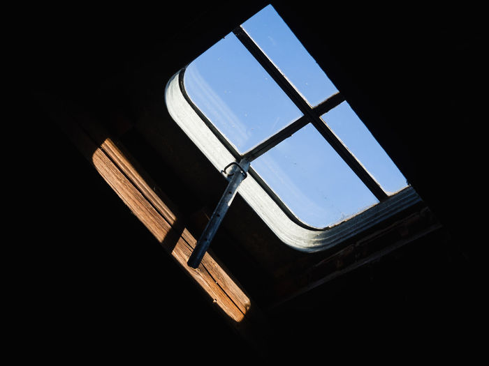 Opportunity Window Low Angle View Indoors  Architecture No People Built Structure Sky Glass - Material Day Copy Space Nature Transparent Skylight Metal Tilt Building Dark Sunlight Ceiling Directly Below Glass Looking Through Window