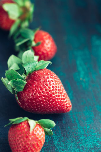 Close-up of strawberries on table