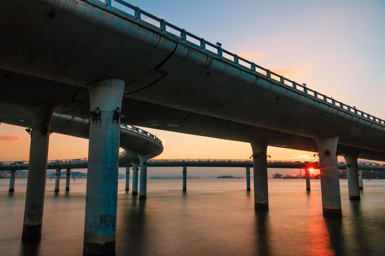 Low angle view of bridges over river at sunset