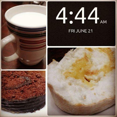 Woke up sooo early. Excited for today's trip. Breakfast. Milk Brazodemercedez Triplechocolatecake