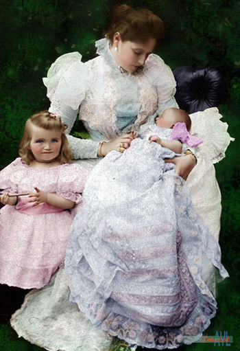 Colorized photo of the Czarina Alexandra with her toddler Grand Duchess Olga and holding the Infant Grand Duchess Tatiana Empress Mother Alexandra Czarina Duchess Olga Romanov Royalty Tatiana