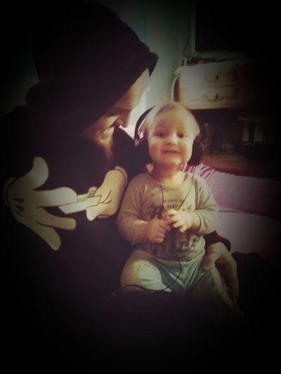 Baby Listening To Music Music Is My Life Wonderful Feel The Music Dad And Son Love♥ LoveItSooooooooooMuch Zion Town Headset Smile :)