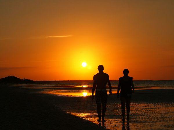 Cuba Cayo Coco Cuba Sunset Silhouette Beach Sea Nature Vacations Sun Two People Water Orange Color Sand