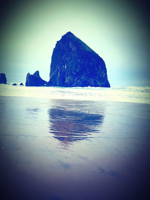 Haystack Rock Scenics Beach Landscape Sea Water Nature Wave Outdoors Mountain Beauty In Nature Horizon Over Water