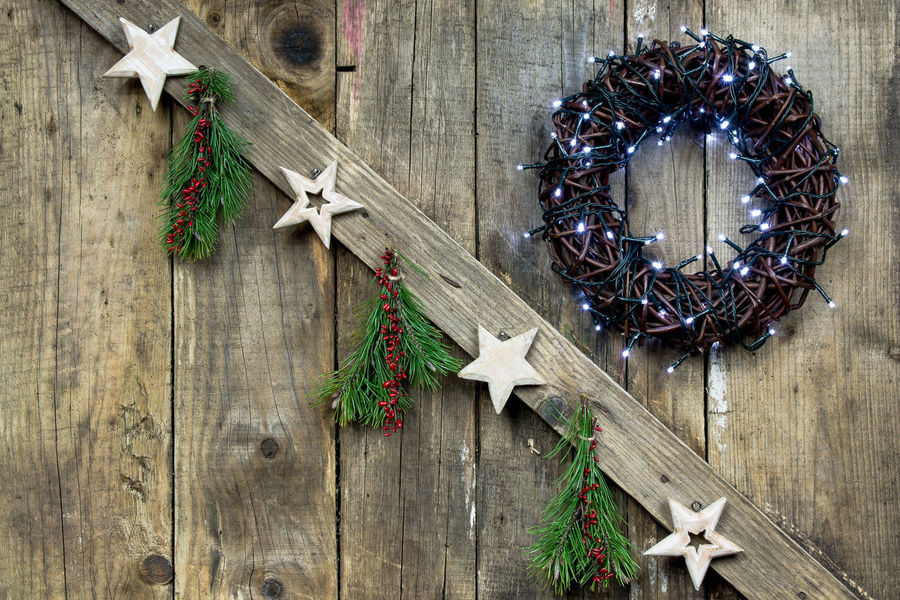 Christmas Christmas Decorations Christmas Eve Christmas Lights Merry Christmas Natural Wood Nature Old Boards Raw Wood Scandinavian Style Star Star Tree Tree Ornaments Vintage Wooden Background Wooden Christmas Decorations Wooden Christmas Ornaments