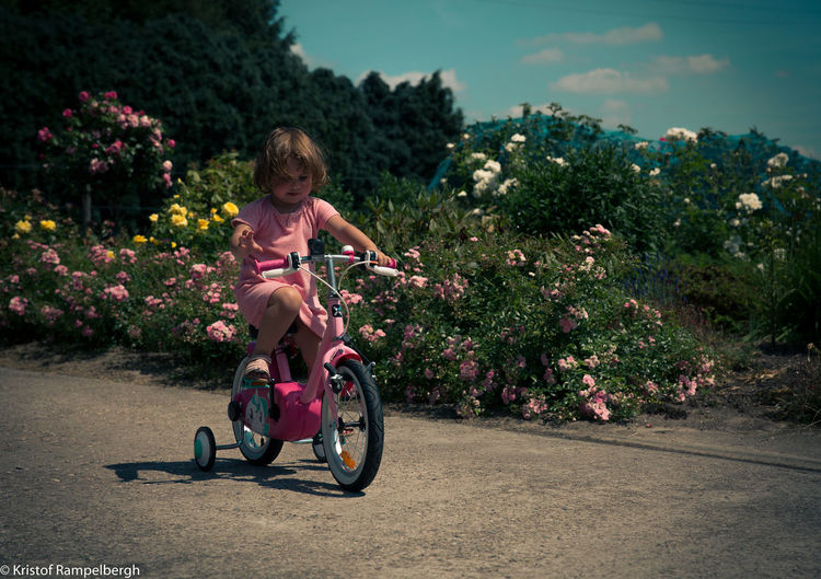 Bike Blond Hair Childhood Day Girl One Person Outdoors People Real People Riding Road Sitting Sky Transportation