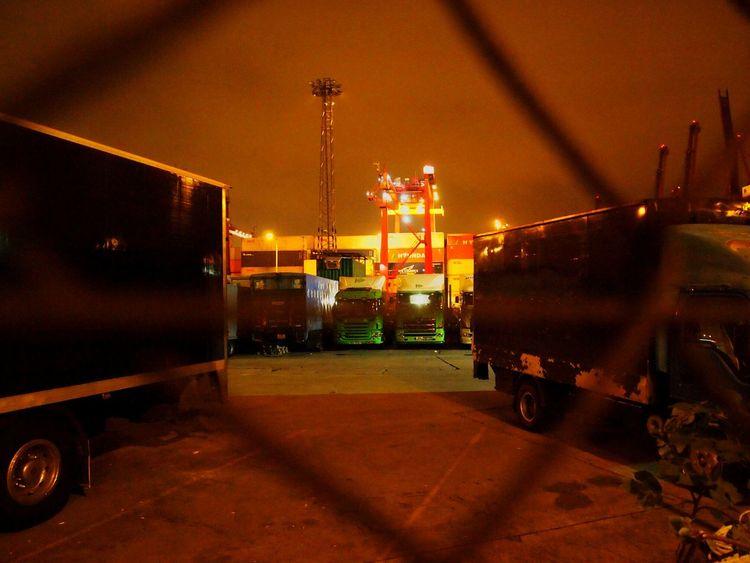 Close Up Technology Night Light Tsing Yi HongKong Transportation Commercial Dock Close Up Technology
