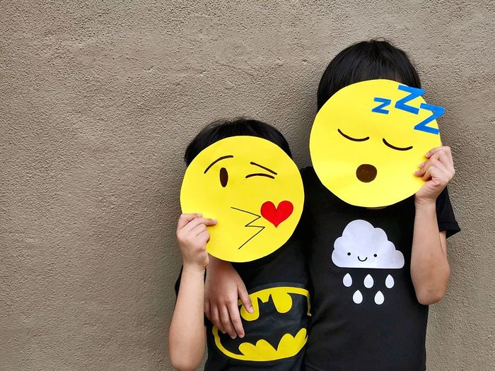 Paint The Town Yellow Yellow Anthropomorphic Smiley Face Child One Person People Humor Happiness Childhood Children Only Smiling Humor Two People Fun Kids Emoji The Week On EyeEm