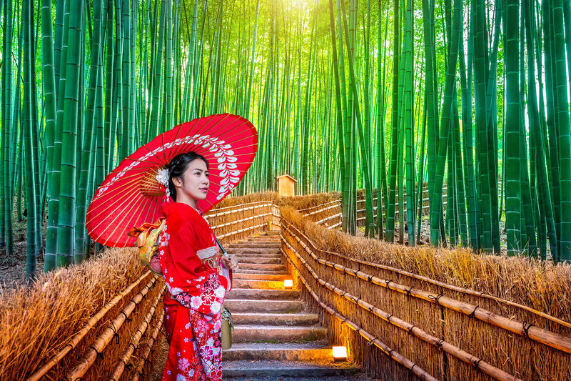 Mid adult woman holding red umbrella on steps amidst bamboo forest