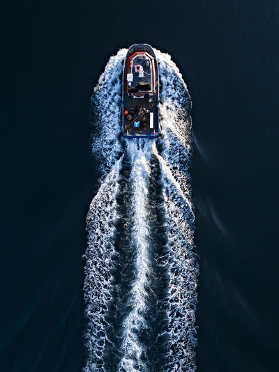 Aerial view of a nautical vessel on the water