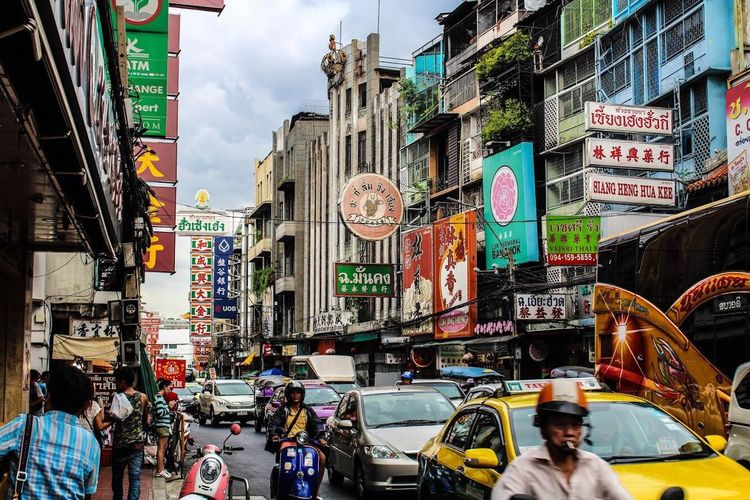 China Town in Bangkok, Thailand Building Exterior City Travel Destinations People Crowd
