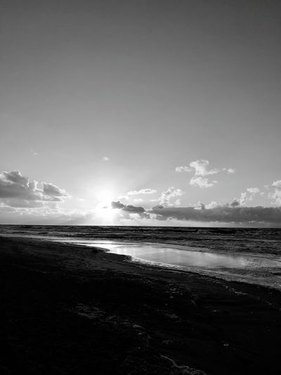 Monochrome Photography Sea Beach Sand Wave Nature no people The Night Is Coming. End Of Day